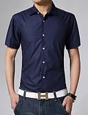 baratos Camisas Masculinas-Homens Tamanho Europeu / Americano Camisa Social - Trabalho Negócio / Básico Sólido Algodão Colarinho Clássico Khaki / Manga Curta / Verão