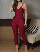 ราคาถูก จั๊มสูทและเสื้อคลุมสำหรับผู้หญิง-สำหรับผู้หญิง ทุกวัน Street Chic สาย สีดำ สีน้ำเงิน ทับทิม ดินสอ เพรียวบาง ชุด Jumpsuits Onesie, สีพื้น S M L เสื้อไม่มีแขน