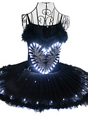 ราคาถูก ชุด-ชุดเต้นบัลเล่ย์ หงส์ดำ นาฬิกา LED เป็นชั้น หนึ่งชิ้น ชุดเดรส ตูตู กระโปรงฟอง ภายใต้กระโปรง สำหรับผู้หญิง เด็กผู้หญิง สำหรับเด็ก ตูเล่ ฝ้าย เครื่องแต่งกาย สีดำ Vintage คอสเพลย์