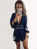 ราคาถูก จั๊มสูทและเสื้อคลุมสำหรับผู้หญิง-สำหรับผู้หญิง ทุกวัน Street Chic คอวีลึก สีน้ำเงิน Romper Onesie, ลายดอกไม้ ลายพิมพ์ S M L แขนยาว / Sexy