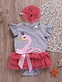 זול אוברולים טריים לתינוקות-חליפת גוף כותנה שרוול קצר פפיון דפוס פעיל בנות תִינוֹק / פעוטות