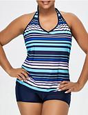 ราคาถูก ชุดว่ายน้ำและบิกินีผู้หญิง-สำหรับผู้หญิง สาย สีน้ำเงิน Cheeky tankini ชุดว่ายน้ำ - ลายแถบ XXXL XXXXL XXXXXL สีน้ำเงิน / Sexy