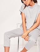 ราคาถูก จั๊มสูทและเสื้อคลุมสำหรับผู้หญิง-สำหรับผู้หญิง ทุกวัน สีดำ เทาอ่อน ใบไม้สีเขียวที่มีสามแฉก ชุด Jumpsuits Onesie, สีพื้น S M L แขนสั้น