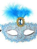 baratos Máscaras-Renda Máscara Venetian Mascarada Meia Máscara Inspirado por Fantasias Veneziano Preto Marron Dia Das Bruxas Dia Das Bruxas Carnaval Baile de Máscaras Adulto Mulheres Feminino / Pena