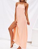 זול שמלות מקסי-כתפיה מקסי שמלה ישרה כותנה בגדי ריקוד נשים / סקסית