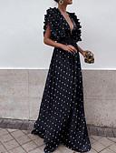 זול שמלות נשף-V עמוק מקסי טלאים, מנוקד - שמלה בתולת ים \חצוצרה רזה בגדי ריקוד נשים