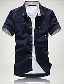 ราคาถูก เสื้อเชิ้ตผู้ชาย-สำหรับผู้ชาย ขนาดของยุโรป / อเมริกา เชิร์ต พื้นฐาน ฝ้าย ปกคลาสสิค เพรียวบาง สีพื้น ขาว / แขนสั้น / ตก