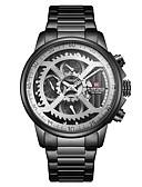 ราคาถูก นาฬิกาข้อมือหรูหรา-NAVIFORCE สำหรับผู้ชาย นาฬิกาแนวสปอร์ต นาฬิกาเห็นกลไกจักรกล นาฬิกาทหาร ญี่ปุ่น นาฬิกาควอตซ์ญี่ปุ่น ที่มีขนาดใหญ่ สแตนเลส ดำ / ทอง / สีสระน้ำ 30 m กันน้ำ ปฏิทิน noctilucent ระบบอนาล็อก / หนึ่งปี
