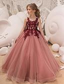 Χαμηλού Κόστους Λουλουδάτα φορέματα για κορίτσια-Παιδιά Κοριτσίστικα Ενεργό Γλυκός Πάρτι Αργίες Dusty Rose Μονόχρωμο Αμάνικο Μακρύ Φόρεμα Κρασί