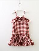 Χαμηλού Κόστους Φορέματα για κορίτσια-Νήπιο Κοριτσίστικα Γλυκός χαριτωμένο στυλ Τετράγωνο Καρό Αμάνικο Φόρεμα Ρουμπίνι