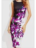 ราคาถูก ชุดเดรสพิมพ์ลาย-สำหรับผู้หญิง ปาร์ตี้ ชายหาด ปลอก แต่งตัว - ลายพิมพ์, ลายดอกไม้ ยาวถึงเข่า