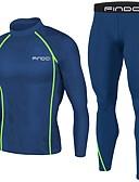 billiga Löparkläder-FINDCI Herr Kompressionsdrag Vinter Löpning Aktiv träning Gym träning Sportswear Kungsblått Mörkblå Lättvikt Andningsfunktion Svettavvisande Baslager Kompressionskjorta och byxor Långärmad Sportkläder