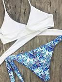 baratos Bikinis-Mulheres Floral Nadador Branco Biquíni Roupa de Banho Estampado S M L Branco / Sexy
