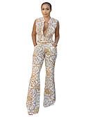 ราคาถูก จั๊มสูทและเสื้อคลุมสำหรับผู้หญิง-สำหรับผู้หญิง ทุกวัน Street Chic คอวี ขาว ชุด Jumpsuits Onesie, รูปเรขาคณิต ลายพิมพ์ S M L เสื้อไม่มีแขน