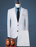 billiga Herrblazers och kostymer-Herr Dagligen / Arbete Affär / Grundläggande Vår & Höst EU / US-storlek Normal kostymer, Enfärgad Tröjkrage Långärmad Bomull / Polyester Ljusblå / Khaki grön / Marinblå / Affärsformell