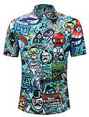 billige Skjorter-Skjorte Herre - 3D / Tegneserie / Bokstaver, Trykt mønster Gul