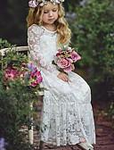 お買い得  赤ちゃん ドレス-赤ちゃん 女の子 ベーシック ソリッド 長袖 コットン ドレス ホワイト / 幼児
