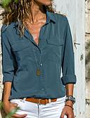 ราคาถูก เสื้อผู้หญิง-สำหรับผู้หญิง ขนาดพิเศษ เชิร์ต พื้นฐาน คอเสื้อเชิ้ต สีพื้น สีเทา