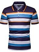 baratos Pólos Masculinas-Homens Tamanho Europeu / Americano Polo Listrado Colarinho de Camisa Delgado Azul / Manga Curta
