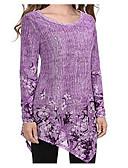 ราคาถูก เสื้อเอวลอยสำหรับผู้หญิง-สำหรับผู้หญิง ขนาดพิเศษ เสื้อเชิร์ต พื้นฐาน ฝ้าย ตัดออก สีพื้น สีม่วง