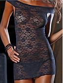 ราคาถูก สไตลตุ๊กตาเบบี้-สำหรับผู้หญิง ลูกไม้ / ตารางไขว้ Sexy ชุดคลุมนอน เสื้อนอน สีพื้น สีดำ XL XXL XXXL