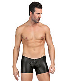 baratos Moda Íntima Exótica para Homens-Homens Básico Cueca Boxer - Normal, Sólido Cintura Média Preto Azul Vermelho M L XL