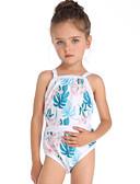 ราคาถูก ชุดว่ายน้ำผู้หญิง-เด็ก Toddler เด็กผู้หญิง พื้นฐาน สไตล์น่ารัก Sport ชายหาด ลายดอกไม้ รูปเรขาคณิต ตัดออก เสื้อไม่มีแขน ชุดว่ายน้ำ สีฟ้า