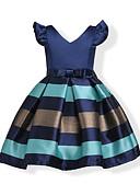 Χαμηλού Κόστους Επαγγελματικά Φορέματα-Παιδιά Νήπιο Κοριτσίστικα Φιόγκος Γλυκός Πάρτι Αργίες Μπλε Ριγέ Μονόχρωμο Κοντομάνικο Φόρεμα Κρασί / Βαμβάκι