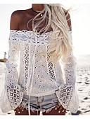 זול חולצה-אחיד סירה מתחת לכתפיים רזה כותנה, חולצה - בגדי ריקוד נשים לבן