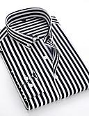 povoljno Muške košulje-Veličina EU / SAD Majica Muškarci Dnevno Prugasti uzorak Klasični ovratnik Crn / Dugih rukava