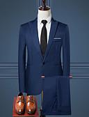 Χαμηλού Κόστους Κοστούμια-Ανδρικά Δουλειά Κανονικό Στολές, Μονόχρωμο Κολάρο Πουκαμίσου Μακρυμάνικο Πολυεστέρας Μαύρο / Κρασί / Μπλε Απαλό