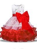 ราคาถูก ม่านสำหรับงานแต่งงาน-เด็ก เด็กผู้หญิง พื้นฐาน ทุกวัน สีพื้น แขนยาว กระโปรงชุด ทับทิม