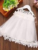 Χαμηλού Κόστους Βρεφικά φορέματα-Μωρό Κοριτσίστικα Ενεργό Μονόχρωμο Δαντέλα Αμάνικο Φόρεμα Λευκό / Νήπιο