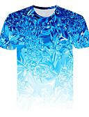 billiga T-shirts och brottarlinnen till herrar-Tryck, 3D Nattklubb T-shirt - Grundläggande / Streetchic Herr Rund hals Blå / Kortärmad