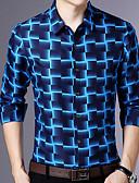 baratos Camisas Masculinas-Homens Camisa Social Estampa Colorida Delgado Azul / Manga Longa