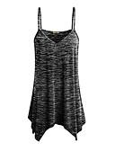 ราคาถูก เสื้อผู้หญิง-สำหรับผู้หญิง เสื้อกล้าม Strappy คอวี สีพื้น ทับทิม / ฤดูใบไม้ผลิ / ฤดูร้อน / ตก