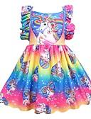 זול שמלות לבנות-שמלה עד הברך ללא שרוולים קפלים טלאים Unicorn חגים פעיל בנות ילדים