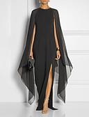 baratos Vestidos de Noite-Linha A Decorado com Bijuteria Longo Chiffon Elegante & Luxuoso / Elegante Evento Formal Vestido 2020 com Fenda Frontal