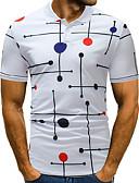 ราคาถูก เสื้อโปโลสำหรับผู้ชาย-สำหรับผู้ชาย Polo Street Chic ลายพิมพ์ คอเสื้อเชิ้ต ลายจุด ขาว / แขนสั้น
