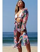 billiga Strandklänningar-Dam Dunkel halsringning Regnbåge Kjol Täck Över Badkläder - Blommig Tryck En Storlek Regnbåge / Super Sexy