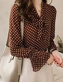baratos Blusas Femininas-Mulheres Tamanhos Grandes Camisa Social Básico Poá / Geométrica Decote V Marron
