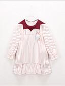 ราคาถูก เสื้อผ้าชิ้นเดียวเด็กผู้หญิง-Toddler เด็กผู้หญิง หวาน สไตล์น่ารัก ลายแถบ ลายบล็อคสี แขนยาว กระโปรงชุด ทับทิม