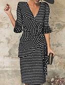 Χαμηλού Κόστους Επαγγελματικά Φορέματα-Γυναικεία Βίντατζ Flare μανίκι Θήκη Φόρεμα - Πουά, Πλισέ Στάμπα Ως το Γόνατο Λαιμόκοψη V
