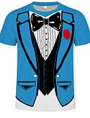 ราคาถูก เสื้อยืดและเสื้อกล้ามผู้ชาย-สำหรับผู้ชาย เสื้อเชิร์ต พื้นฐาน / Street Chic ลายพิมพ์ คอกลม ลายบล็อคสี / 3D สีน้ำเงิน / แขนสั้น