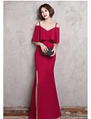 ราคาถูก Special Occasion Dresses-A-line คอวี ลากพื้น เจอร์ซี่ เพื่อนเจ้าสาวชุด กับ โดย LAN TING Express