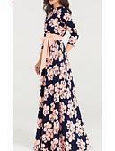 baratos Vestidos Estampados-Mulheres Básico Bainha Vestido Geométrica Longo