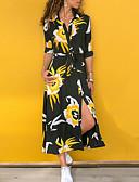 povoljno Print Dresses-Žene Swing kroj Haljina - Cvijetan Print Kragna košulje Maxi