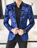 baratos Ternos & Blazers Masculinos-Homens Terno, Floral Lapela Chanfrada Poliéster Azul