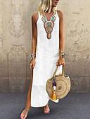 Χαμηλού Κόστους Sweater Dresses-Γυναικεία Μεγάλα Μεγέθη Μπόχο Κομψό Λεπτό Σε γραμμή Α Φόρεμα - Μονόχρωμο Tribal, Σκίσιμο Patchwork Μακρύ Λαιμόκοψη V