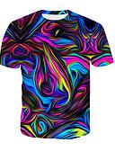 ราคาถูก เสื้อยืดและเสื้อกล้ามผู้ชาย-สำหรับผู้ชาย เสื้อเชิร์ต ลายพิมพ์ คอกลม 3D / สายรุ้ง สายรุ้ง / แขนสั้น / ฤดูร้อน
